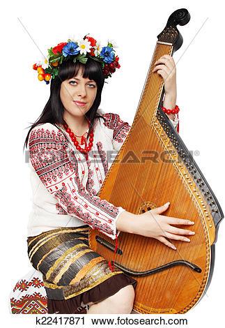 Stock Photography of Ukrainian woman playing the bandura k22417871.