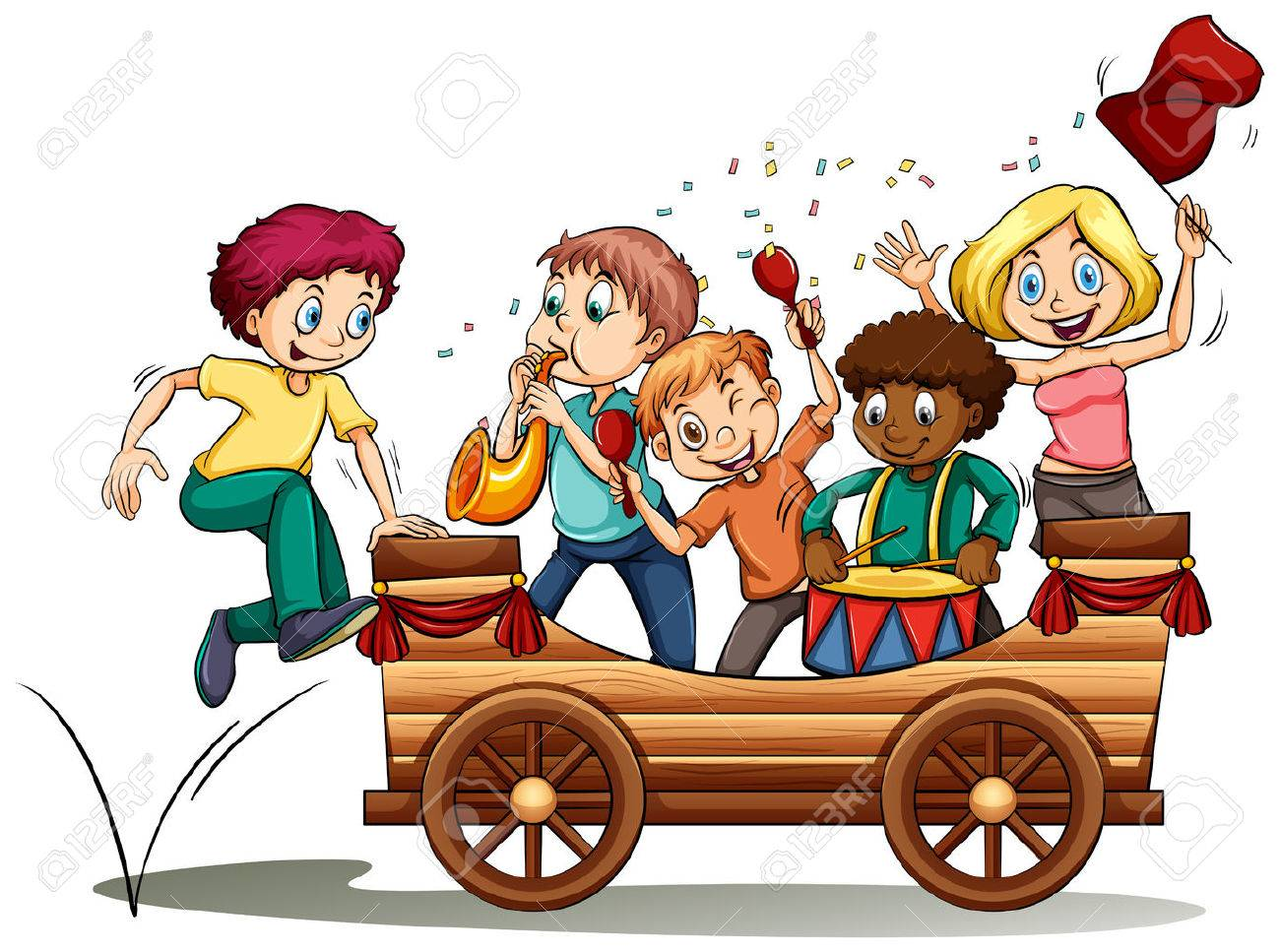 Bandwagon with kids on a white background.