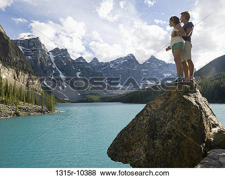 Pictures of Canada, Alberta, Banff National Park, father and.