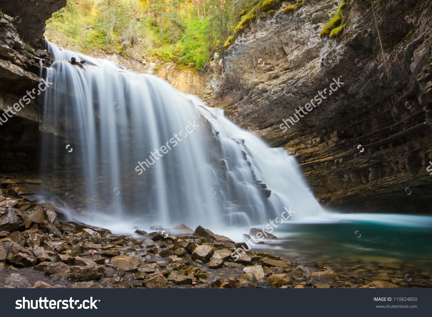 Johnston Canyon Waterfalls Banff National Park Stock Photo.