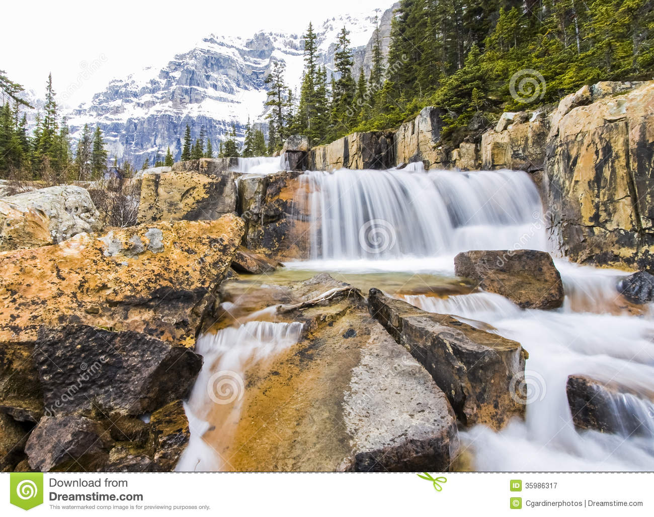Giant Steps Waterfalls In Banff National Park Royalty Free Stock.