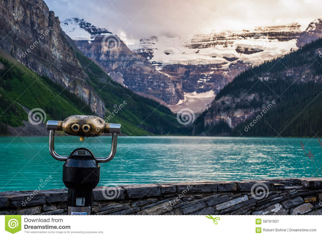 Lake Louise At Sunset In Banff National Park, Canada Stock Photo.