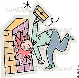 Clipart banging head against wall.