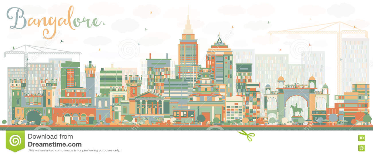 Abstract Bangalore Skyline With Color Buildings. Stock Vector.