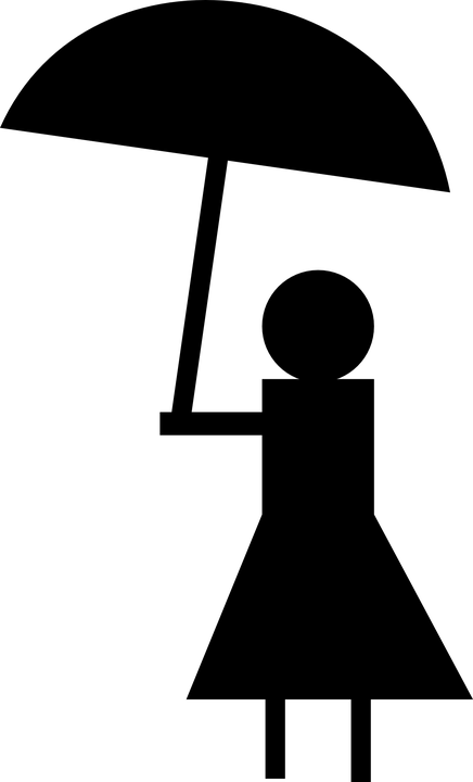 Free vector graphic: Umbrella, Lady, Silhouette, Figure.