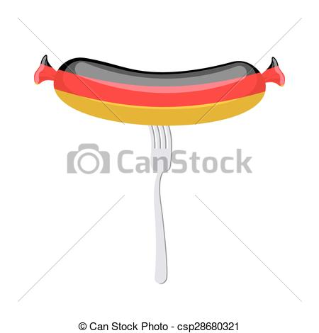 Vector Illustration of Germany banger. Sausage on a fork.