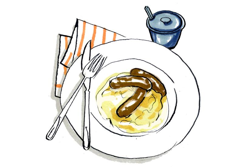 Recipe: Lindsey Bareham\'s bangers and mash with white onion.