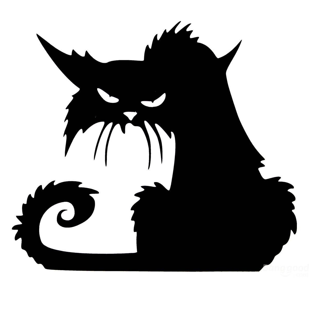 Halloween Scary Black Cat Glass Sticker Halloween Decor.