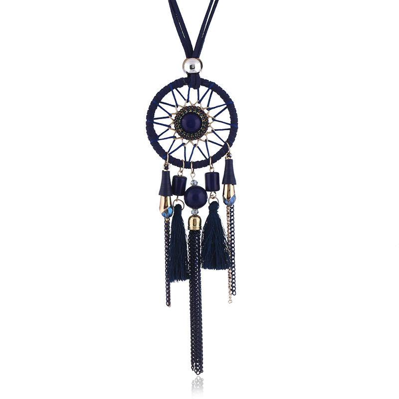Ethnic Tassels Pendant Long Necklace Dream Net Velvet Chain Charm Necklace  Vintage Jewelry for Women.