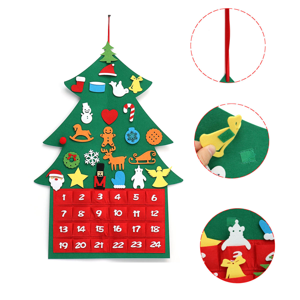 Christmas Tree Advent Calendar Felt Fabric Countdown Xmas Display Decor  Ornament.