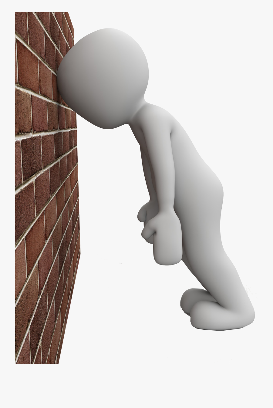 Transparent Banging Head Against Wall Clipart.
