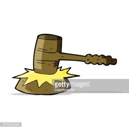 cartoon gavel banging Clipart Image.