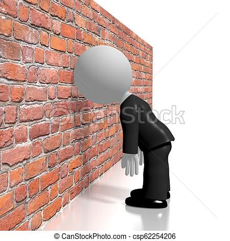 Banging head against the wall/ frustration concept.
