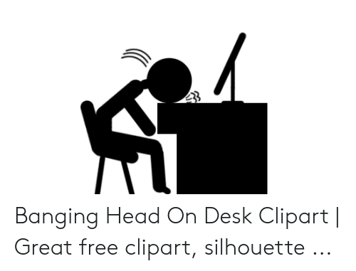 Banging Head on Desk Clipart.
