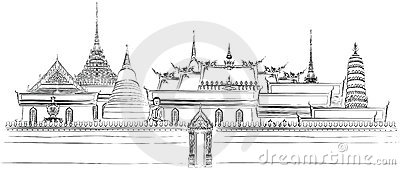 Bangkok Roof Temple Thailand Stock Illustrations.