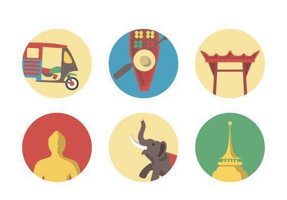 Vector Bangkok Icon Set 137742 in 2019.