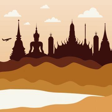 2019 的 Thailand Landscape Vector Image, Thailand, Travel.