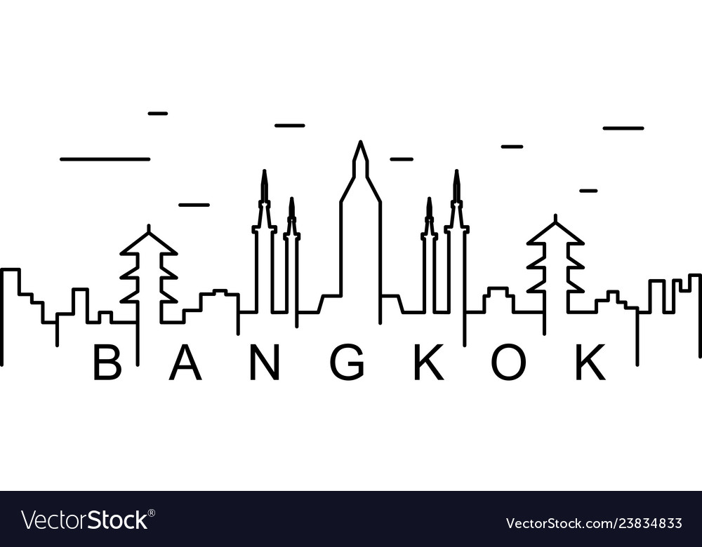 Bangkok outline icon can be used for web logo.