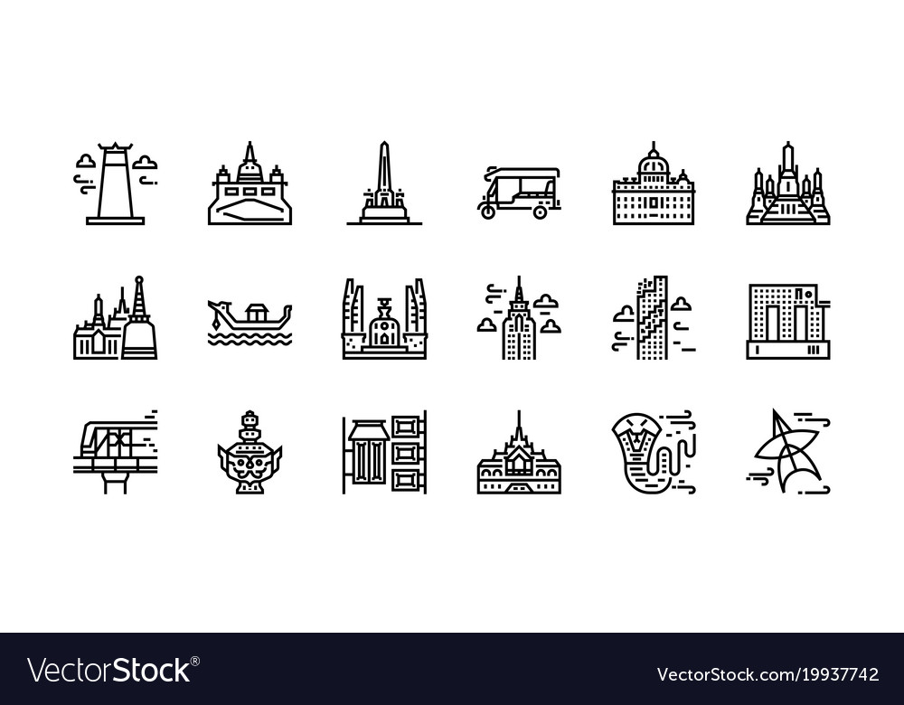 Bangkok symbols and landmarks icon set 1.
