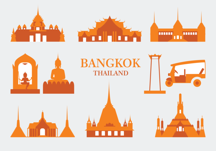 Bangkok Vector Icons.