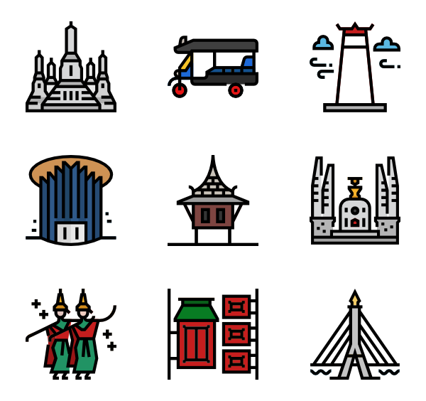 4 bangkok icon packs.