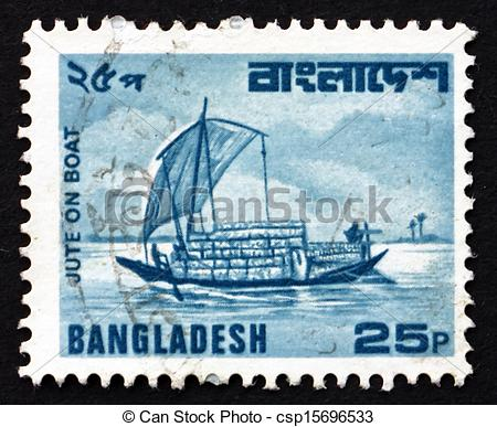Stock Photos of Postage stamp Bangladesh 1982 Jute on Boat, River.