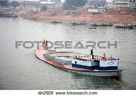 Stock Photograph of Boat in Burigunga Buri Gunga River ; Sadarghat.