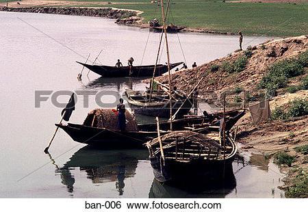 Stock Images of Boats on Burigana River Dhaka Bangladesh Asia ban.