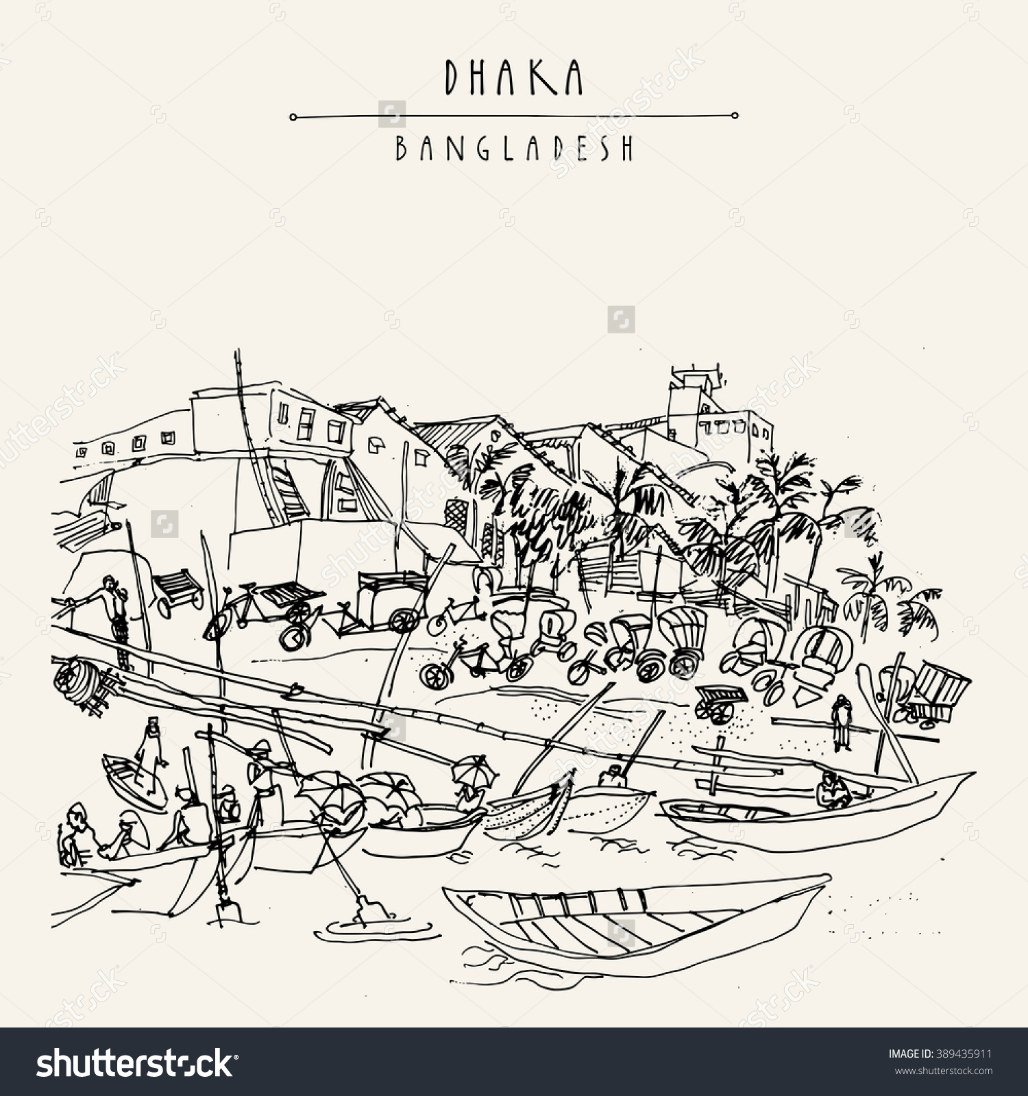 Rickshaw Parking Wooden Boats Sadarghat Port Stock Illustration.