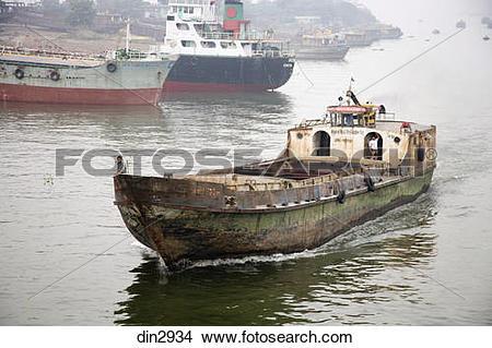 Stock Photo of Steamer in Burigunga Buri Gunga River ; Dhaka.