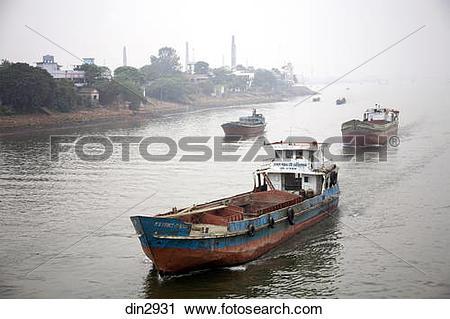 Stock Photography of Steamer in Burigunga Buri Gunga River ; Dhaka.