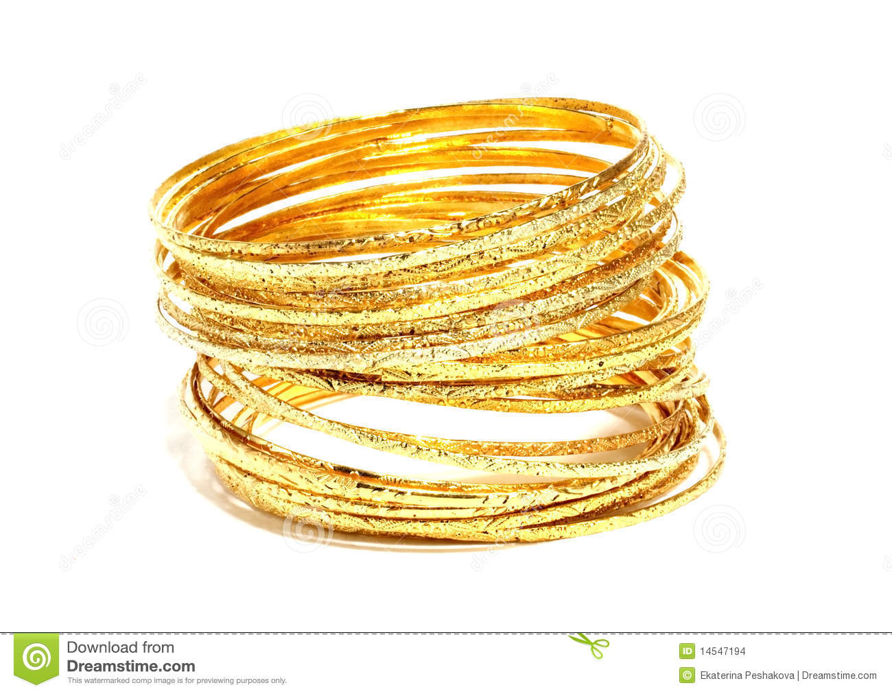 Gold Bangles Stock Photography.