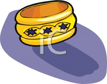Picture of a Bracelet On a Blue Background In a Vector Clip Art.