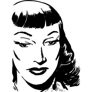 Dark Haired Woman with Bangs clipart, cliparts of Dark Haired.