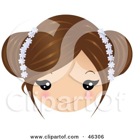 Clip Art Girl Brown Hair Bangs Clipart.