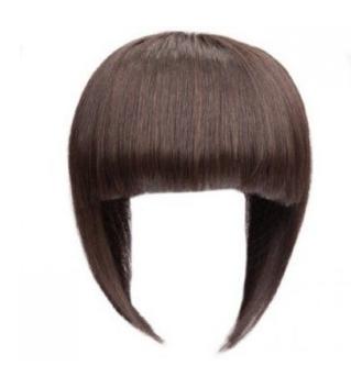 Hair,Wig,Hairstyle,Bangs,Clothing,Brown,Forehead,Bob cut,Hair.