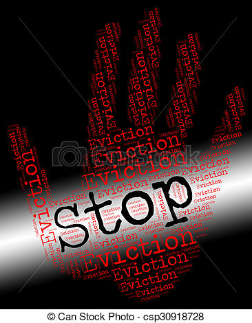Clip Art of Stop Eviction Shows Warning Sign And Banish.