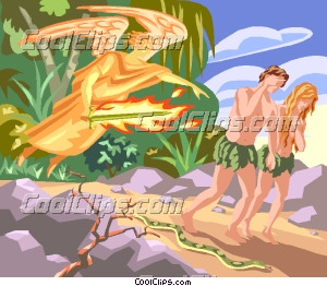 Adam and Eve Banished from the Garden of Eden Clip Art.