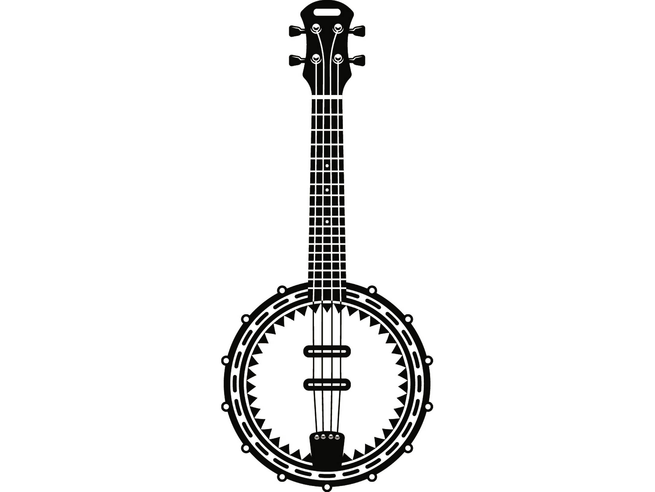 Banjo #1 Musical Instrument Strings Rock Music Guitar Country Folk.SVG .EPS  Instant Digital Clipart Vector Cricut Cutting Download Printable.