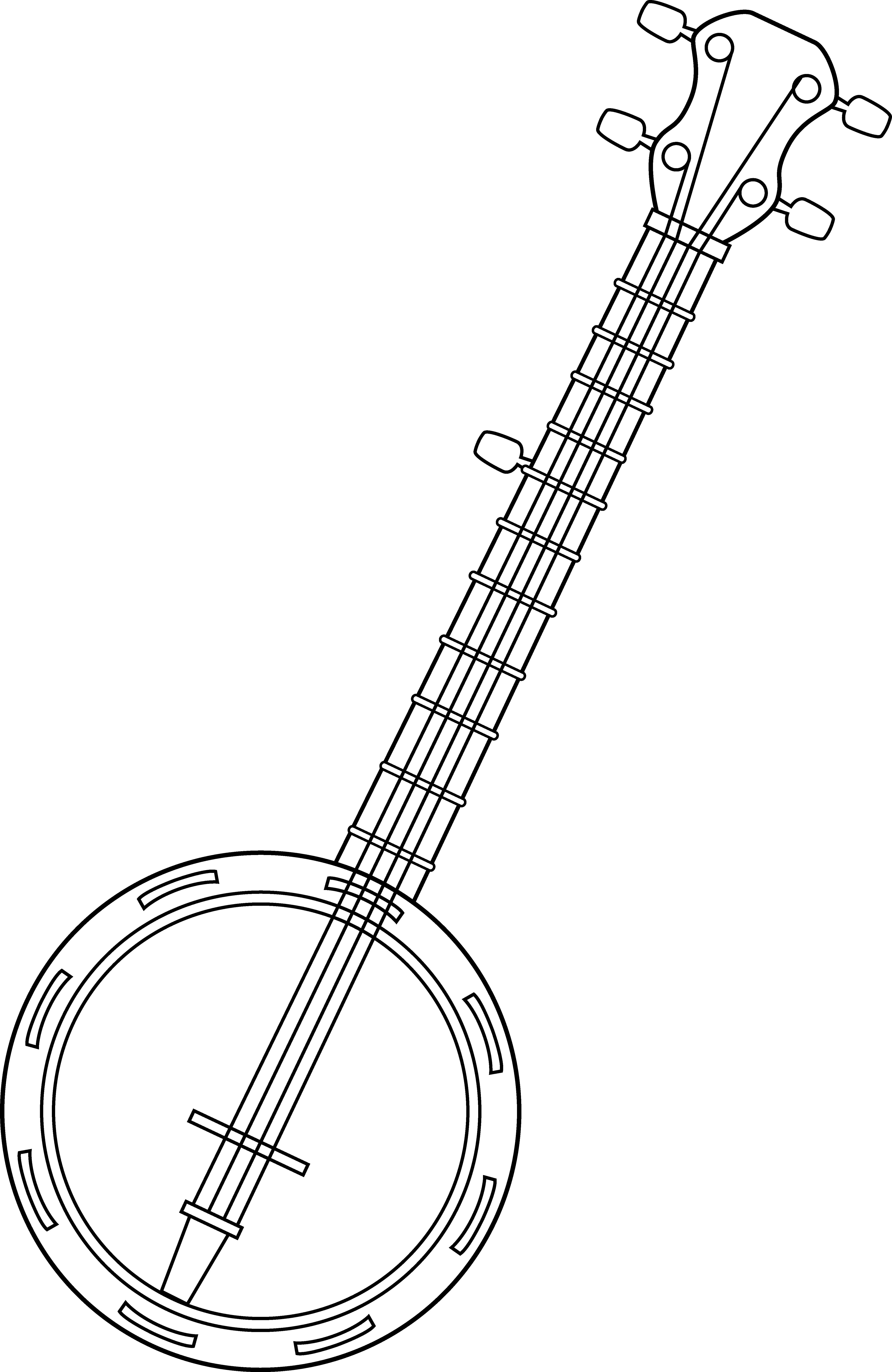 Banjo Colorable Line Art Banjo Clipart Black And.