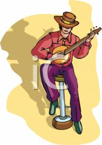 Clipart Picture of a Man Playing a Banjo.