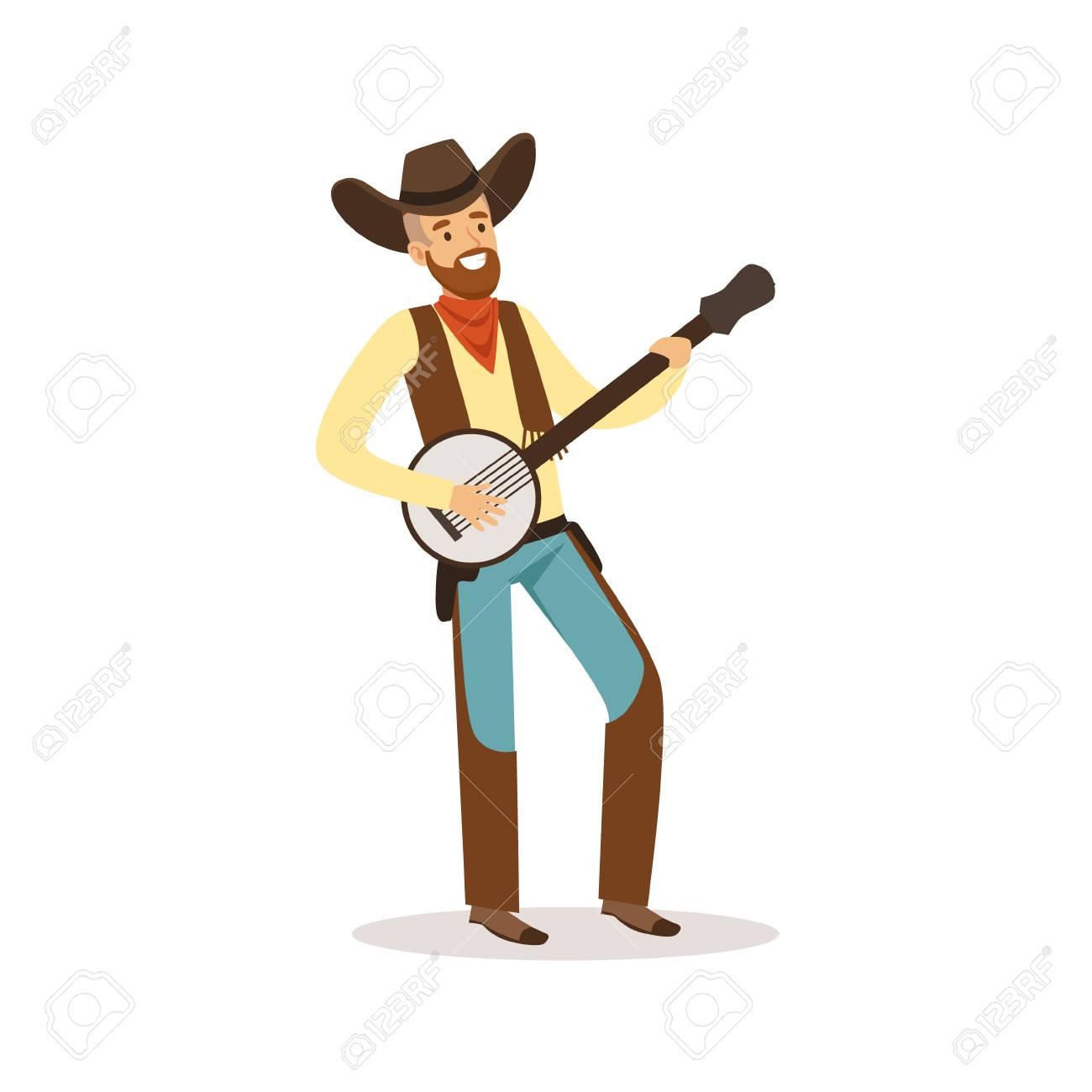 Smiling cowboy playing banjo western cartoon character vector...