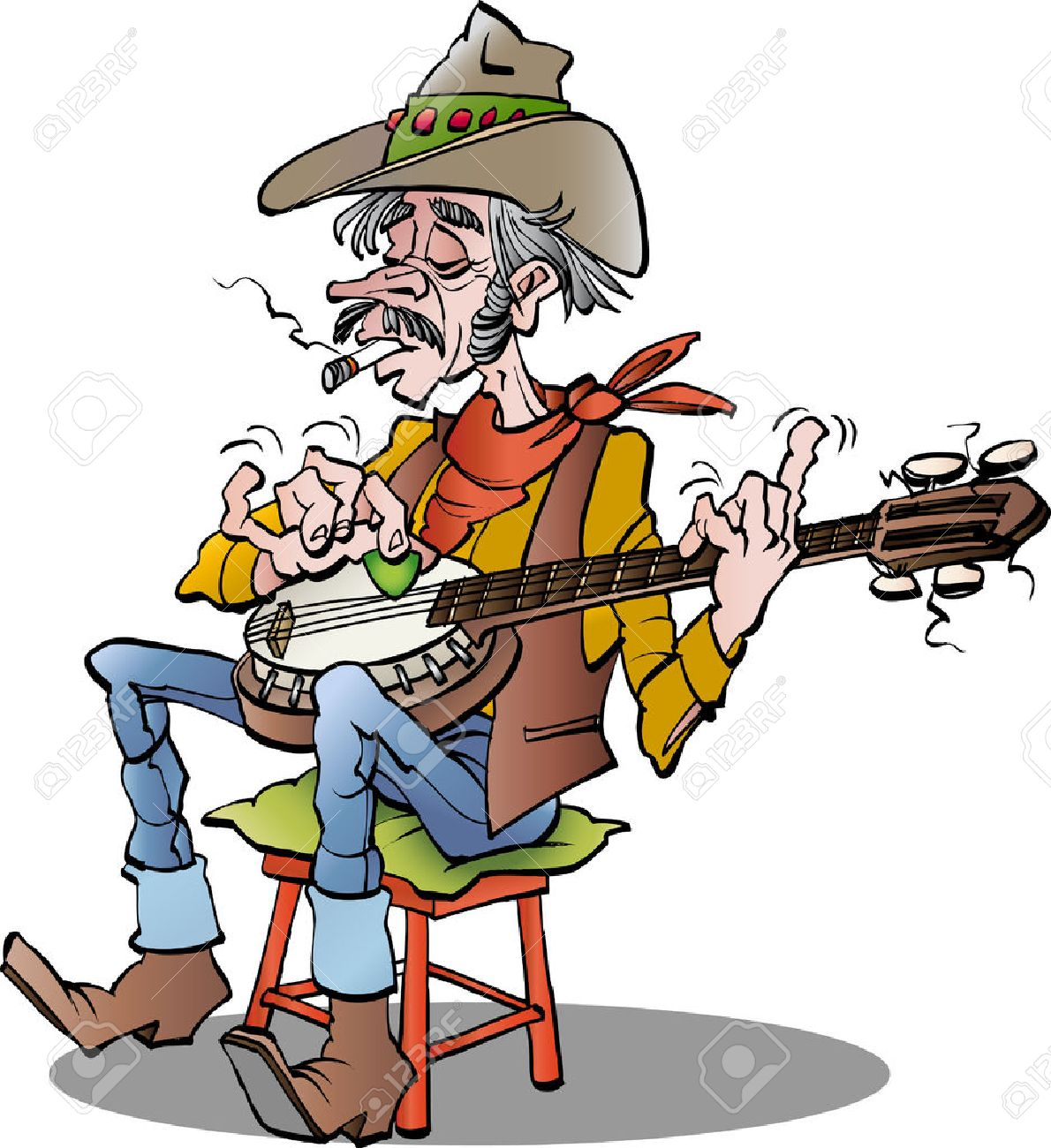 cartoon illustration of a country banjo player.