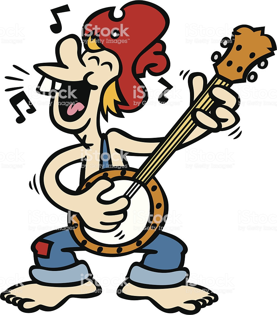 Banjo Hillbilly Stock Illustration.
