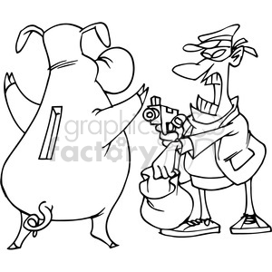 man robbing a piggy bank black and white clipart. Royalty.