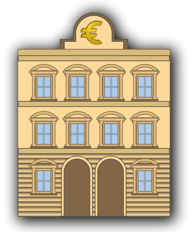 Free Clipart: Bank building with euro sign.