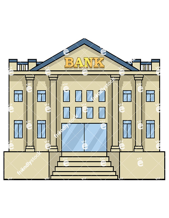 Bank Building Front View.