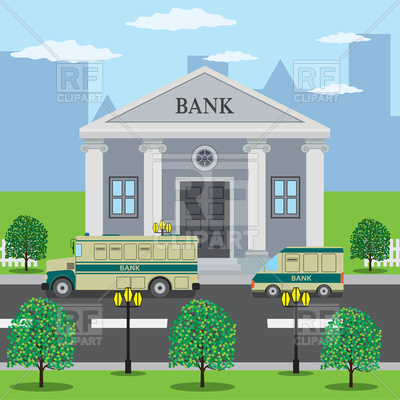Bank building, road with bank bus Vector Image.