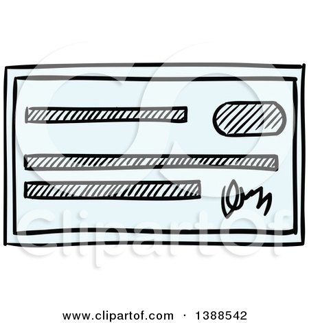 Clipart of a Blank Blue Bank Check.
