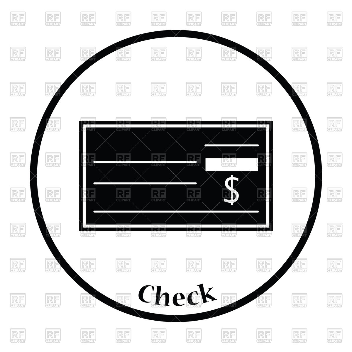 Thin circle design of bank check icon Stock Vector Image.